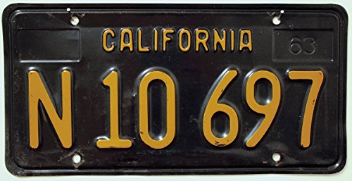 USA Nummernschild CALIFORNIA / 63er Basis - Schwarz (Black) ~ US Kennzeichen Kalifornien ~ Blechschild / License Plate
