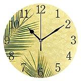 Mnsruu Tropical Leaves Reloj de Pared Redondo Amarillo, Pintura al óleo silenciosa para Dormitorio, Sala de Estar, Oficina, Escuela, decoración del hogar