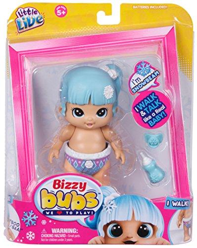 Little Live Bizzy Bubs 34726 - Baby Wirbelwind Flöckchen Snowbeam, Babypuppe Schneeflöckchen für Kinder ab 5 Jahre, Puppe läuft und spricht, Funktionspuppe mit Zubehör, Püppchen ca. 13 cm