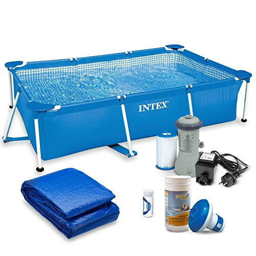 Global 7in1 Set Gartenpool 220 x 150 x 60 cm Rectangular Frame Pool mit Filterpumpe und Zubehör INTEX 28270