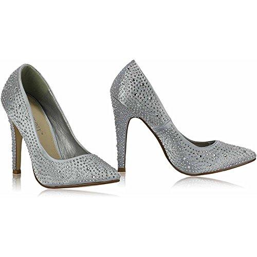 Plateau Sandaletten Keilabsatz Damen High Heels Schuhe Damen Court Peep Toe Platform Perlen Party Hochzeit New Größe 3-8 Stil 6 - Silber