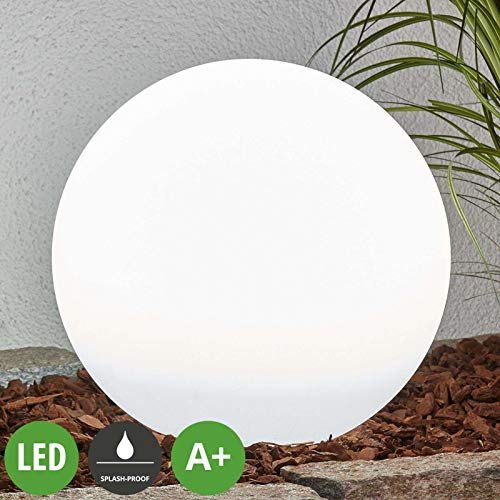 LINDBY LED Solar Kugelleuchte für Außen 'Lago' (spritzwassergeschützt) (Modern) in Weiß (2 flammig, A+, inkl. Leuchtmittel) - Garten, draußen, Kugellampe mit Erdspieß, Kugel Gartenkugel