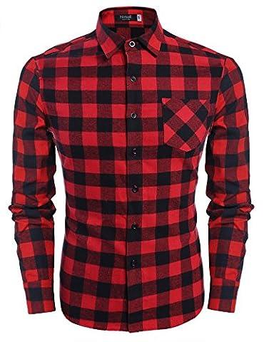 Hasuit Men's Vector Plaid Flannel Woven Shirt Long Sleeve Button