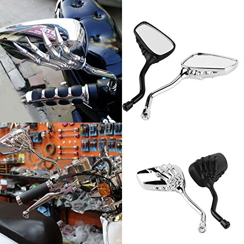 Dailyinshop/® Gauche Droite Universelle Moto Chrome Squelette Cr/âne Style Main Griffe C/ôt/é R/étroviseurs 10mm Facile /à Installer
