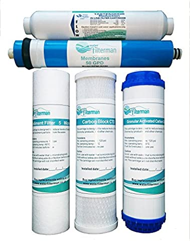 5 Stage Reverse Osmosis Water Filter Replacement Filter Set