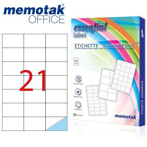 Packung mit 100Blatt A4Etiketten Aufkleber memotak Format in Millimeter 70x 422100Etiketten für Behälter