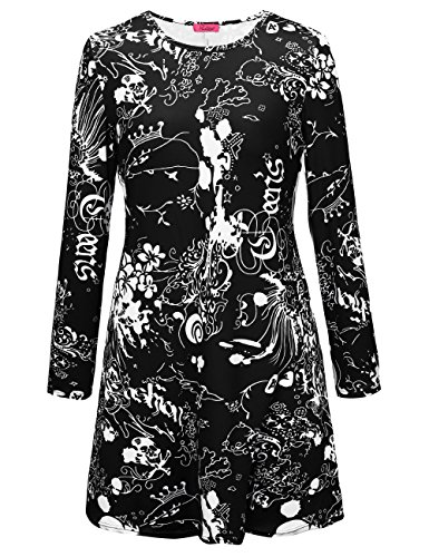 Albtraum Halloween Kostüme (SIMYJOY Damen Halloween Langarm Kittel Flared Skater Kleid Swing Kleid für Party Cocktail Kostüm und Parade schwarzer albtraum)