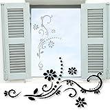 Fenstertattoo ~ Blumenranke Romina ~ glas005-57x29 cm Aufkleber für Fenster, Glastür und Duschtür aus Glas, Fensterbild, wasserfeste Glasdekorfolie in Sandstrahl - Milchglas Optik