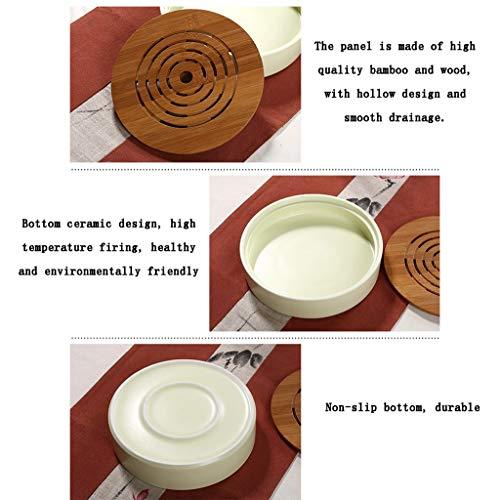 Hjbh123 HJBH Keramik Dry Bubble Tisch Mini Wasserspeicher Runde Bambus Doppel Kleine Tee Tablett Tragbare Japanische Kung Fu Lila Sand Tee Set (Pulver Blau)