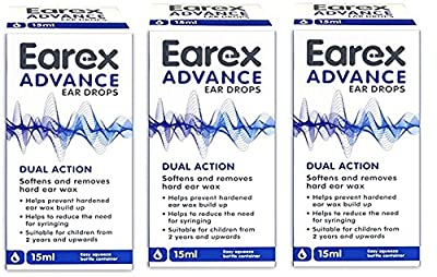 Earex Advance Ear Wax Removal Drops With Dual Action 15ml x3 (3 Pack)