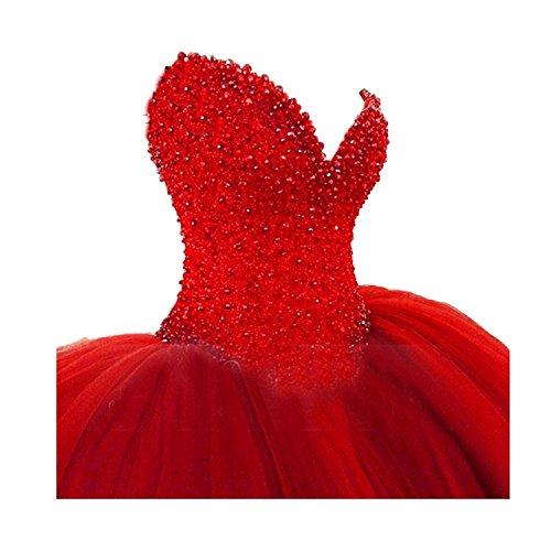 CoCogirls Luxus Rot Schatz wulstige Kristall Brautkleider Hochzeitskleider Ballkleid Abendkleid (46,...