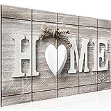 Bilder Home Herz Wandbild 200 x 80 cm Vlies - Leinwand Bild XXL Format Wandbilder Wohnzimmer Wohnung Deko Kunstdrucke Braun 5 Teilig - MADE IN GERMANY - Fertig zum Aufhängen 504455a