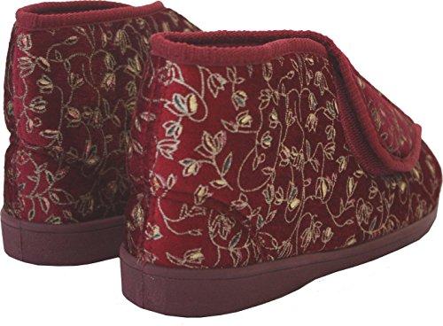 New Ladies Cinturino In Velcro Lavabile In Lavatrice Con Ampia Imbottitura Per Diabetici Scarpe Da Ginnastica Ortopediche Uk Taglie 3-8 Vino / Alta