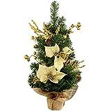 Chi Natale 0,61 metri pressione sulla base, l'albero di Natale decorato, oro / crema