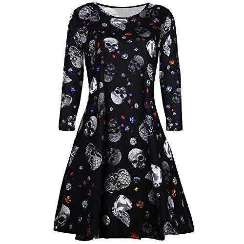 Calvinbi Damen Vintage Kleider Schwarz Elegante Kleid Damenkleider mit Skelett Knielang Langarm 3/4 Arm Abend Prom Swing Dress Soft und Stretch fur Halloween Party Ball Karneval Kostüm (Soft Ball Kostüm)