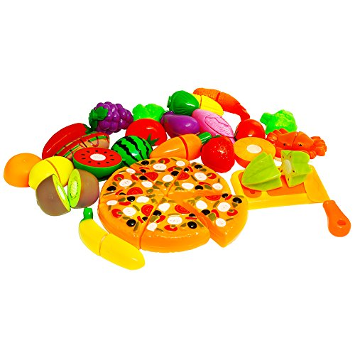 ThinkMax 26 pcs Play Cutting Food with Plastic Backpack, Fruits and Vegetables Kitchen Pretend Play Set, Educational Plastic Party Toy for Kids and Children