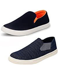 Ethics Perfect Combo Pack Of 2 Sneakers- Men's Blue Orange & Blue Synthetic Casual Shoes