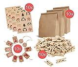 10 Teilig XXL Set aus Geschenktüten, Geschenkbeutel aus Kraftpapier mit Aufkleber, Etiketten, Papiertüten, Verpackungstüten aus Kraftpapier mit Klammern, Geschenkanhänger natur
