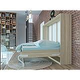 Cama plegable de 140cm horizontal color roble sonoma cama plegable & cama de pared SMARTBett con colchón de muelles embolsados