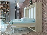 Armario Sonoma de SMARTBett de 140 cm de roble con cama integrada horizontal con colchón de resortes en espiral embolsillados de 140x 200cm. Ideal para invitados: armario de pared con cama abatible integrada más aparador