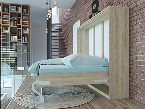 Schrankbett 140cm Horizontal Eiche Sonoma SMARTBett mit SMART Punkt Kaltschaummatratze 140x200cm, ideal als Gästebett - Wandbett, Schrank mit integriertem Klappbett, Sideboard