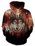 Leapparel Sweatshirt Uomo 3D Galassia Lupo Stampata Sportive Manica Lunga Pullover Hoodie Sweatshirt Rosso XL