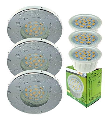 Trango 3er Set IP44 Einbaustrahler Rund incl. 3x LED Modul dimmbar nur 3cm Einbautiefe Bad Dusche (TG6729IP-038MD Chrom)