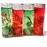 Shot Glass Gel Colors Candle (Red&Green, Pack Of 4)