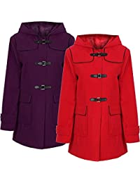 PU Clasp Hooded Long Duffle Coat Plus Size