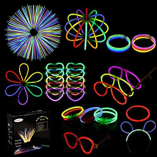 SanGlory 250 Knicklichter Mehrfarbig Knicklicht mit 300 Verbinder für Dreifach Armbänder, Ketten, Premium Leuchtstäbe Set für Brillen, EIN Stirnband, Ohrringe, Blumen, EIN Leuchtball und Vieles Mehr