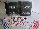 Unbekannt 4 x Premium Poker Karten Großer Jumbo Index 4 Eckzeichen Corner Pips Pokerkarten 100% Plastik Spielkarten Spiel Karten Wasserabweisend Neu
