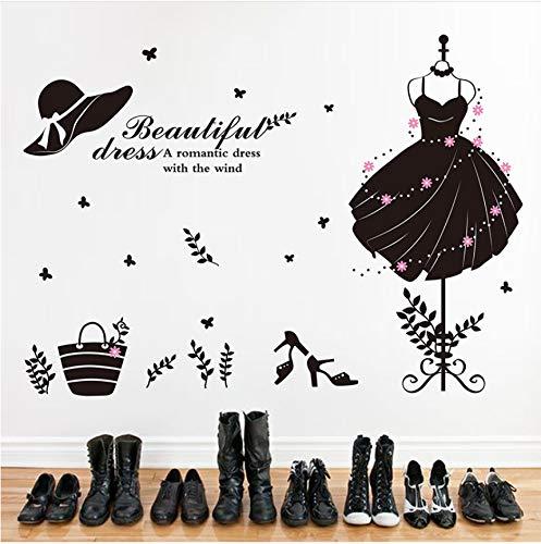 (Fushoulu Little Black Dress Wandaufkleber Frauen Markt Dekoration Schwarz Schönheit Garderobe Für Korridor Schlafzimmer Dekoration)