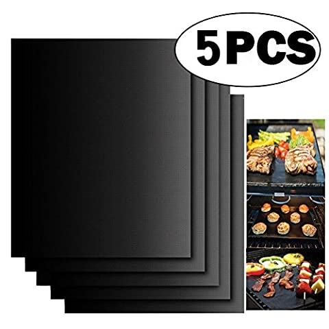 Nonstick BBQ Grill Mats [5 Pieces]- Pococina Oven Liner Teflon Cooking Mats for Baking on Gas, Charcoal, Oven and Electric Grills for Grilling Meat, Veggies, Seafood