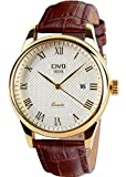 CIVO Herren Luxus braun Leder Band Datum Kalender Armbanduhr Casual Business Wasserdicht Gold Watch