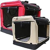 Hundetransportbox faltbar - Transportbox für Hunde - Dogi Kennel - 6 Größen (S bis XXXL) rot und beige