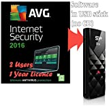 Bundle AVG Internet Security 2016 for 2 Users / Computers 1 Year Licence ( Antivirus Software, supplied in 8GB USB Stick, Windows 10, 8, 7 Compatible)