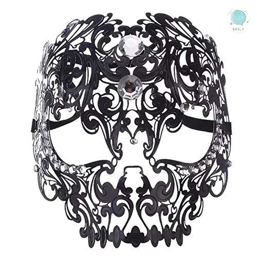l Maske, Metall Maske Maskerade Venezianische Karneval Maske Halloween Kostüm Party Sexy mit Strass, Schwarz ()