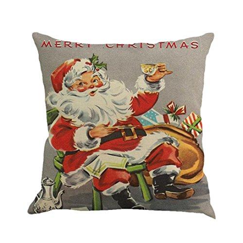 Weihnachten Kissen Fall, ubabamama Weihnachten, eckig, Leinen, quadratisch Überwurf Flachs Kissen Fall dekorative Kissenbezug 45,7x 45,7cm h