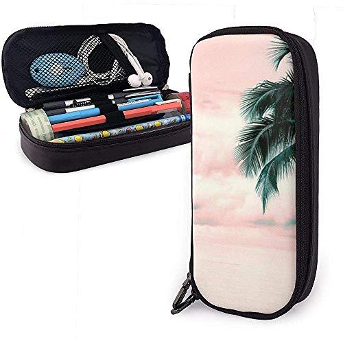 Federmäppchen Beach Pink Palms Clouds Pink PU Ledertasche Aufbewahrungstaschen Portable Pencil Bag Zipper Wallets