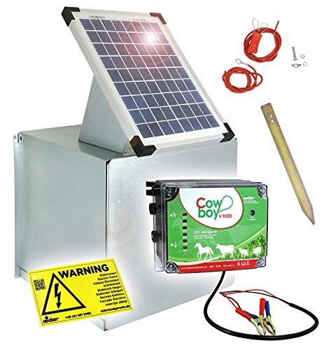 *Weidezaungerät V9000 + Solarbox – Wahnsinnige 10 Watt – Lange Batterielaufzeit – Unser stärkstes 12V Gerät zum Kampfpreis*