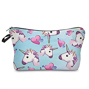 HENGSONG Unicorn Printed Makeup Brush Bag Key Bag Coin Purse Pencil Case with Zipper Gifts (Light blue)