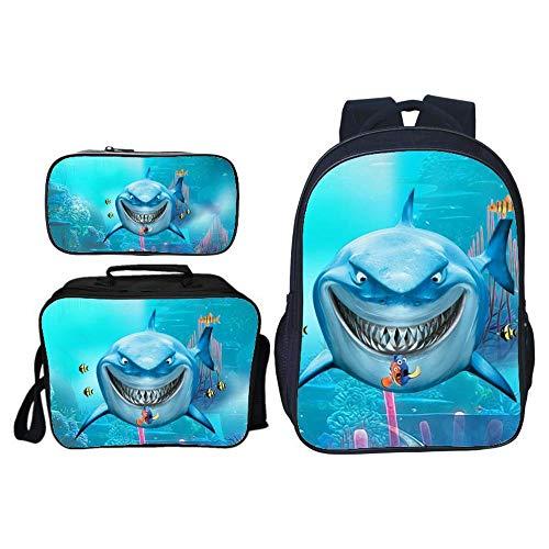 JLWF Kinderrucksack Set Big Mouth Shark 3D Reduzieren Sie Die Belastung,Tragbare Und Leicht Zu Reinigende Kinderrucksack + Lunchpaket + Federmäppchen Mehrzweck Für Reise-Picknick Und Schule A