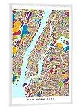 artboxONE Poster mit weißem Kunststoffrahmen 30x20 cm New York City Street Map RGB von Michael Tompsett