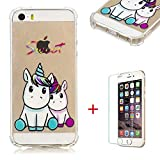 SHYHONG Coque iPhone 5/5s/se Transparent Housse Premium TPU Etui Souple Quatre...