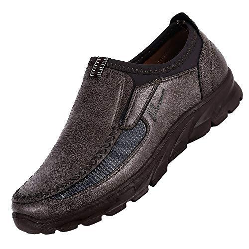 JiaMeng Zapatos Casuales para Hombres Otoño Invierno Scrub Leather Zapatos Transpirables Antideslizantes Deportivos Zapatos Inferiores Gruesos Casuales (café,EU44=CN45)