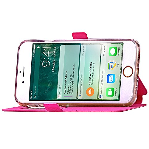 Ledertasche Flip Leather View Cover für Apple iPhone 7 Plus Hülle - Yihya Window View Folio Schutzhülle Slim Bookstyle Case mit Ständer Halter - Blau (Blue) Rose