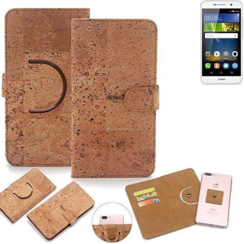 K-S-Trade Schutz Hülle für Huawei Y6Pro LTE Handyhülle Kork Handy Tasche Korkhülle Schutzhülle Handytasche Wallet Case Walletcase Flip Cover Smartphone