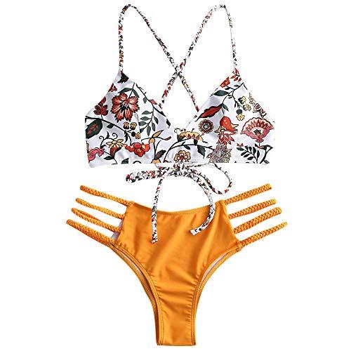 ZAFUL Damen Floral Leaf Lace Up Geflochtener Floral Bikini Set Zweiteiliger Badeanzug (M, Mischfarbe-A)