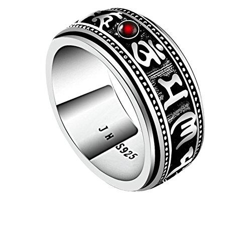 Aooaz Gioielli anelli da uomo anello argento 925 Om Mani Padme Hum con Stone Ring anelli vintage Argento