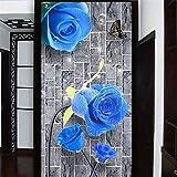 Hwhz Customized 3D Mural Wallpaper Modern Creative Blue Rose Brick Wall 3D Sitting Room Entrance Corridor Backdrop Wall Paper Murals-400X280Cm